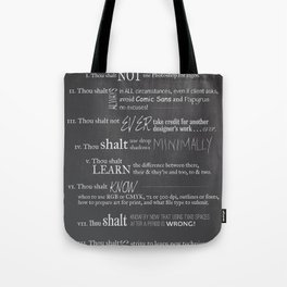 The 10 Commandments for Graphic Designers Tote Bag