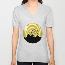 Quiet village at night Unisex V-Neck