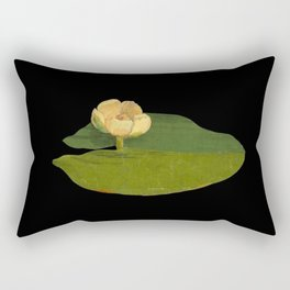 Nymphaea Lutea Mary Delany British Botanical Floral Art Paper Flowers Black Background Rectangular Pillow