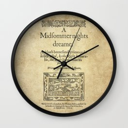 Shakespeare. A midsummer night's dream, 1600 Wall Clock