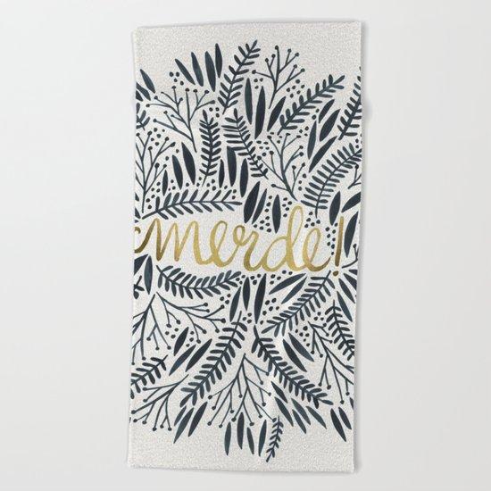 Pardon My French – Black & Gold Beach Towel