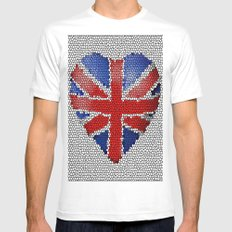 The Union Flag ~ Love Mens Fitted Tee White MEDIUM