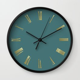 Golden Roman Numbers Wall Clock on Turquoise Background Wall Clock