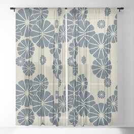 Blue Floral Japanese Pattern 2 Sheer Curtain