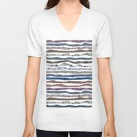mineral V-neck T-shirts featuring Mineral Stripes by artberry