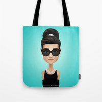audrey Tote Bags featuring Audrey by Matias G. Martinez