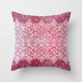 ABERDEEN HEIRLOOM, LACE & DAMASK: REBECCA'S RED Throw Pillow