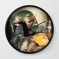 boba Wall Clocks featuring Boba  by Iris Chadab