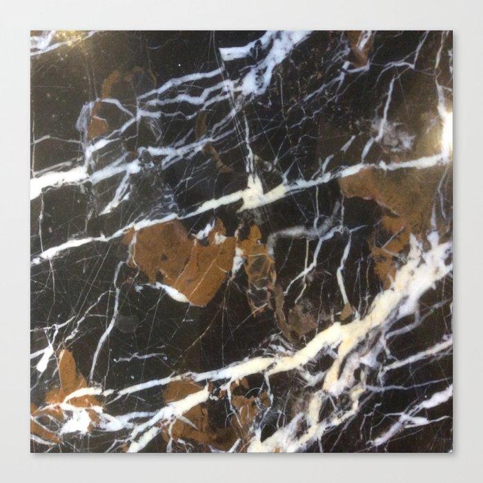 Stylish Polished Black Marble Canvas Print