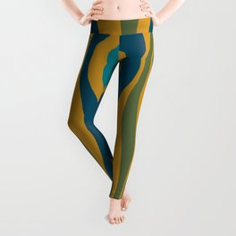 Hourglass Abstract Mid Century Modern Pattern in Moroccan Blue, Green, Teal, and Mustard Leggings
