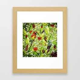 My tropical Summer Flowers and Birds Garden - Jungle Pattern Framed Art Print