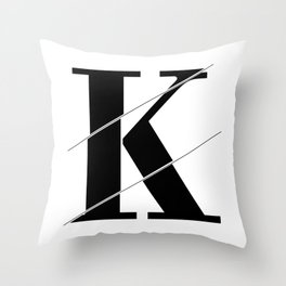 """Sliced Collection"" - Minimal Letter K Print Throw Pillow"