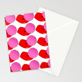 Red Lips and Pink Bubblegum Tiled Stationery Cards