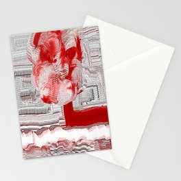 Red and White Woven Flower Pattern Stationery Cards