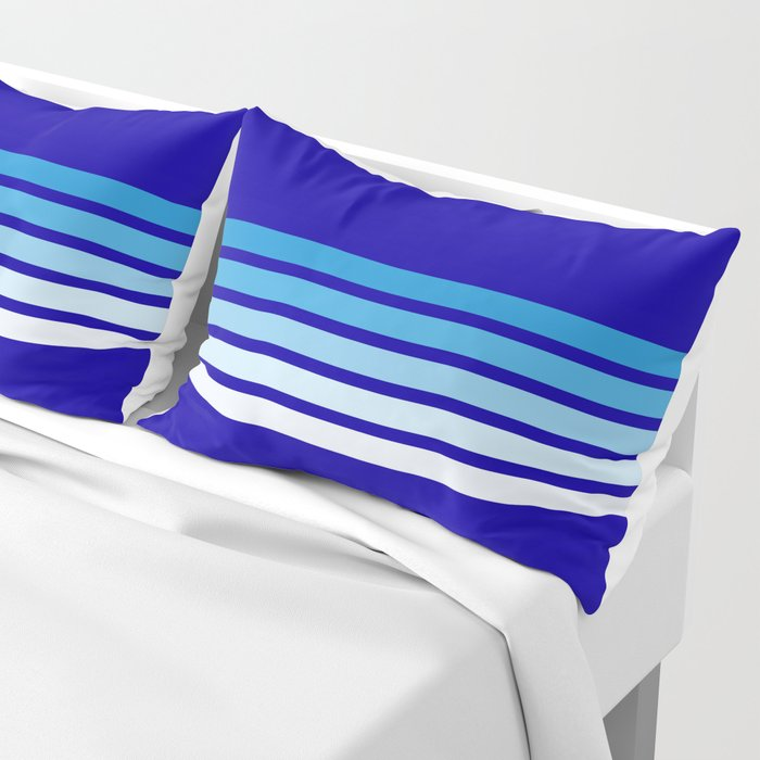 Retro Stripes on Blue Pillow Sham