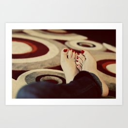 Painted Toes and Funky Rug Art Print