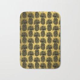 Pineapple Art, Black Gold Pineapple Pattern, Hawaiian Decor Bath Mat