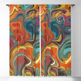 Marbled Swirl Rainbow Blackout Curtain