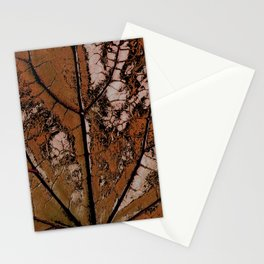 OLD BROWN LEAF WITH VEINS SHABBY CHIC DESIGN ART Stationery Cards
