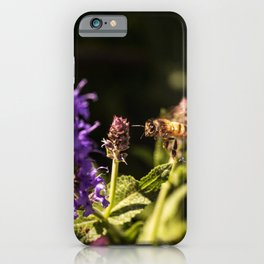 Bee and violet flowers close-up Fine Art Natural Photography iPhone Case