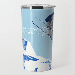 Airborn Skier Flying Down the Ski Slopes Travel Mug