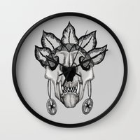 animal skull Wall Clocks featuring Animal skull by SilviaGancheva