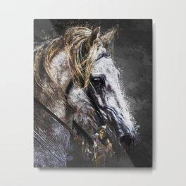 A4 - The Golden Horse, Acrylic Abstract Artwork. Metal Print