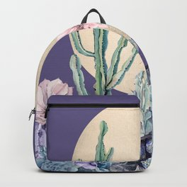 Desert Sun Cactus + Succulents Gold Deep Purple Backpack