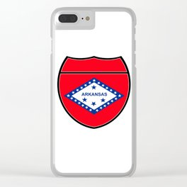 Arkansas Flag In An Interstate Sign Clear iPhone Case