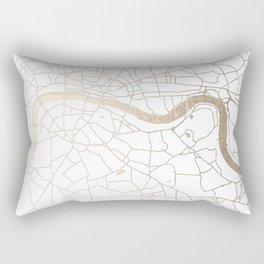 White on Gold London Street Map Rectangular Pillow