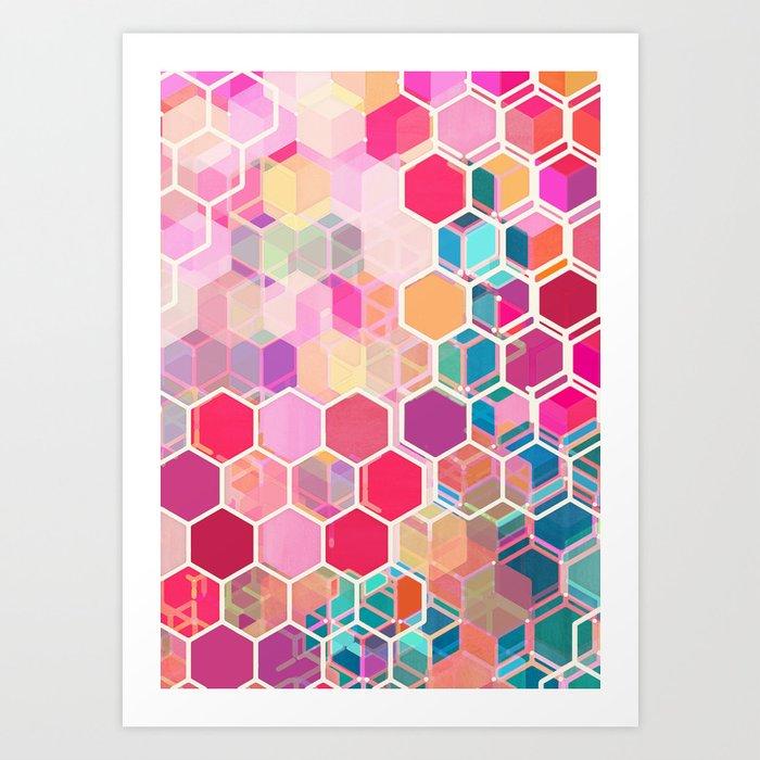 Rainbow Honeycomb - colorful hexagon pattern Art Print