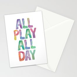 ALL PLAY ALL DAY rainbow watercolor Stationery Cards