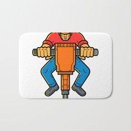 Construction Worker Jackhammer Mono Line Art Bath Mat