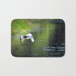 Great Blue Heron in flight, Trojan pond, near Goble, Oregon 3 Bath Mat