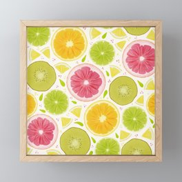 Summer Lemonade // Citrus Illustration // Spring Bright Colorful Fruits Framed Mini Art Print