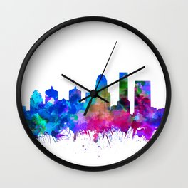 louisville skyline watercolor 2 Wall Clock