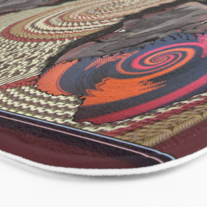 African woman profile on a woven basket Bath Mat