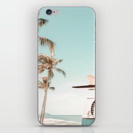 Retro Camper Van with Surfboard at the Beach iPhone Skin