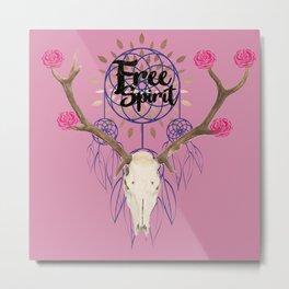 Free Spirit - Deer Skull Metal Print