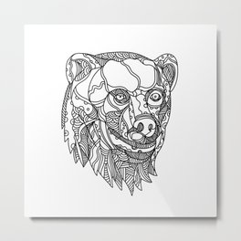 Brown Bear Head Doodle Metal Print