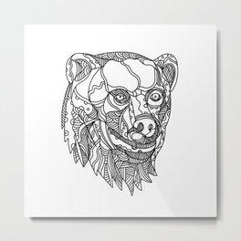 Brown Bear Head Doodle Metal Print