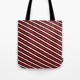 Jiggly Speckled Red Black and White Diagonal Pattern Tote Bag