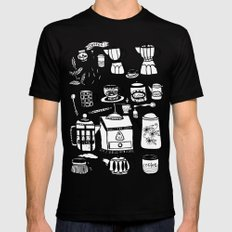 Coffee Doodles Mens Fitted Tee LARGE Black