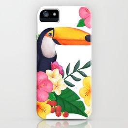 Tropical Toucan Floral Watercolor iPhone Case