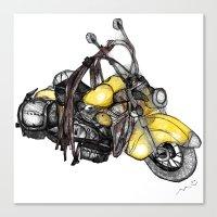 motorcycle Canvas Prints featuring motorcycle by MuDesignbyMugeBaris