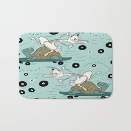tortoise and the hare skater style Bath Mat