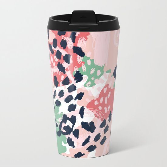 Leia - abstract painting cute minimal navy coral mint pastels painterly boho chic decor Metal Travel Mug