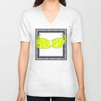 bikini V-neck T-shirts featuring Yellow Bikini by Mike van der Hoorn