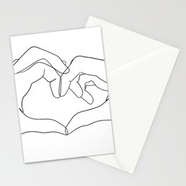 line art heart hands Stationery Cards