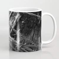 the wire Mugs featuring Barbed Wire by Fine2art